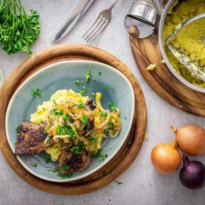 Rinderleber mit Sellerie-Kartoffelstampf und Schmorzwiebeln Rezept